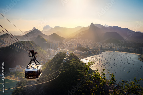 Aerial view of Rio de Janeiro with Urca and Sugar Loaf Cable Car and Corcovado mountain  - Rio de Janeiro, Brazil