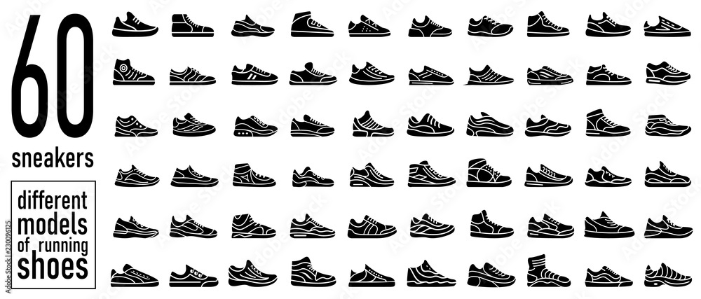Fototapeta 60 sneaker running shoes icons set. Simple style
