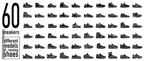 60 sneaker running shoes icons set. Simple style Wallpaper Mural