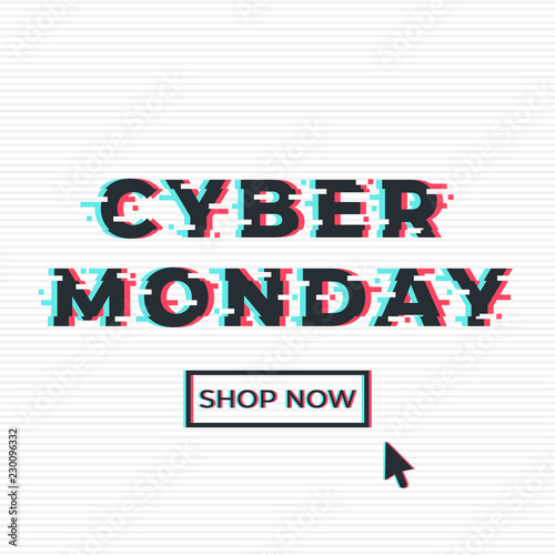 Cyber monday sale promotion web banner in glitch style  Shop