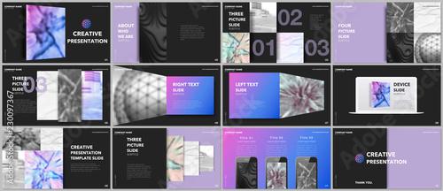 Fotografia, Obraz  Minimal presentations design, portfolio vector templates with elements on black background