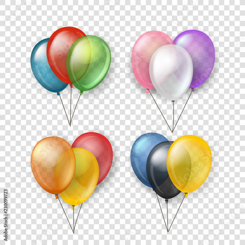 Fotografia  Different color flying balloon groups
