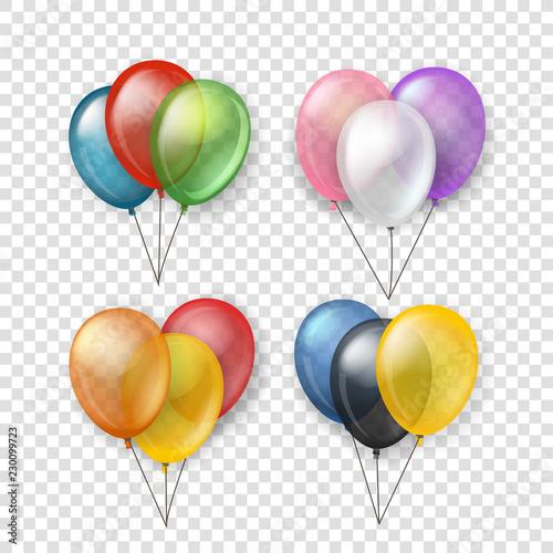 Fototapeta Different color flying balloon groups
