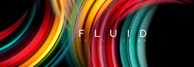 Mixing Color Waves On Black, Liquid Flowing Shapes