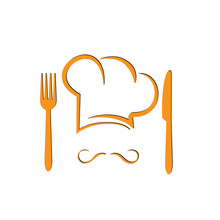 Conceptual Illustration For Logo Or Menu.Chef's Hat With Fork And Knife.