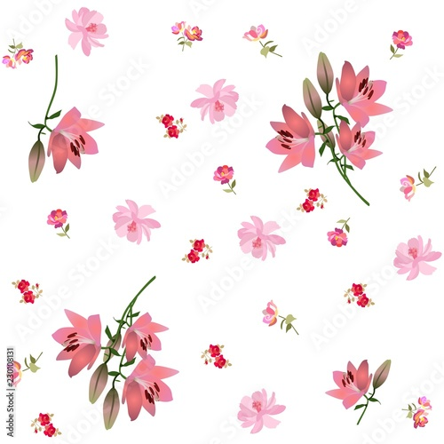 Fotografia  Endless floral print for fabric with large pink lilies, gentle cosmos flowers and small roses isolated on white background in vector