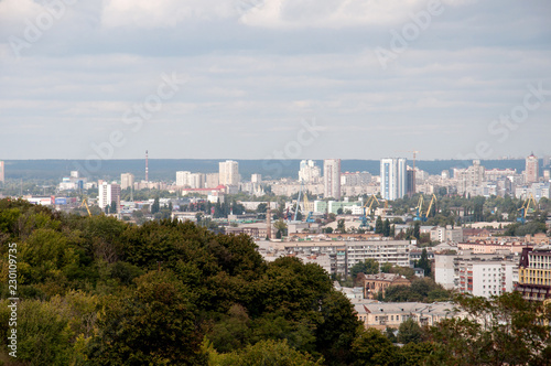 Сity of Kiev, Ukraine. General view of the big city, capital, metropolis from the top
