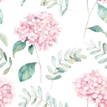 Watercolor Seamless Pattern. Vintage Print With Hortensia Flowers And Eucalyptus Branches. Hand Drawn Illustration