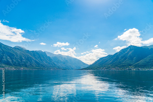 Poster Lac / Etang Mediterranean Landscape of Mountains and Small Villages along Bay of Kotor, Montenegro