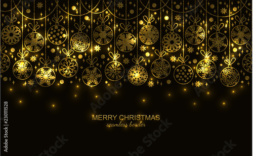 Gold Seamless Snow Flake Border Isolated On Black Background