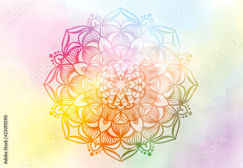 abstract-mandala-graphic-design-and-watercolor-digital-art-painting-for-ancient-geometric-concept-background