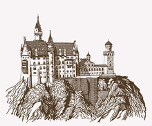 Graphical Vintage Neuschwanstein Castle Isolated , Germany,retro Medieval Fortress Illustration