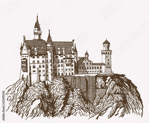 Valokuva Graphical vintage neuschwanstein castle isolated , Germany,retro medieval fortre