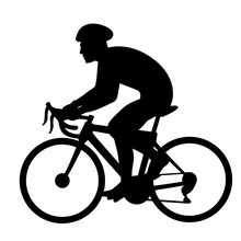 Bicyclist Vector Illustration  Black Silhouette Profile