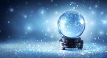Snow Globe Sparkling In Shiny Background