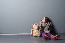 Lonely Girl And Old Toy