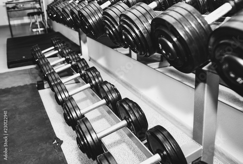 8b4cb9eb123f Heavy dumbbells lying in the raw in the gym. Fitness sport motivation.  Happy healthy
