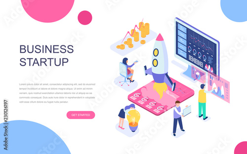 Photo  Modern flat design isometric concept of Startup Your Project for banner and website