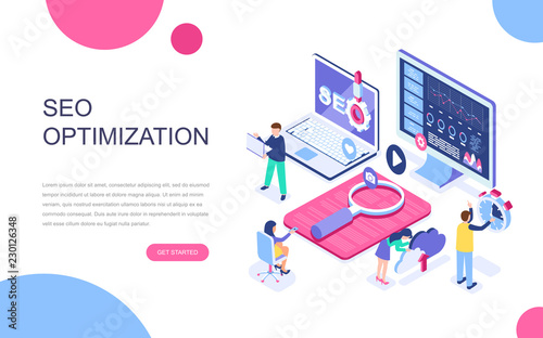 Modern flat design isometric concept of SEO Analysis for