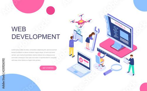 Fotografía  Modern flat design isometric concept of Web Development for banner and website