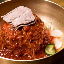 Bibimmyeon (Korean Cold Noodles Mixed With Spicy Red Pepper Sauce).