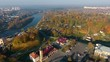 Sights and views of Grodno. Belarus. Autumn Aerial view
