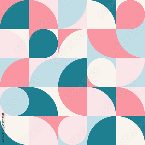 Seamless blue-red pastel abstract geometric print Canvas Print