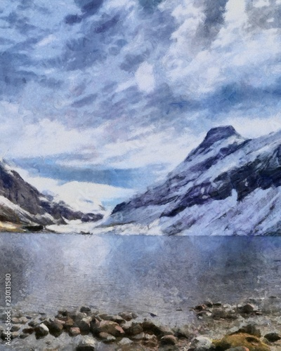 Poster Reflexion Hand drawing watercolor art on canvas. Artistic big print. Original modern painting. Acrylic dry brush background. Vintage mountain snow landscape. Active travel. Tourism location. Skiing resort