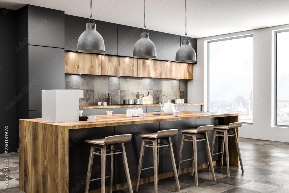 Fototapety, obrazy: Loft kitchen corner with bar