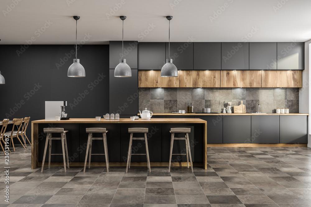 Fototapety, obrazy: Gray kitchen with bar