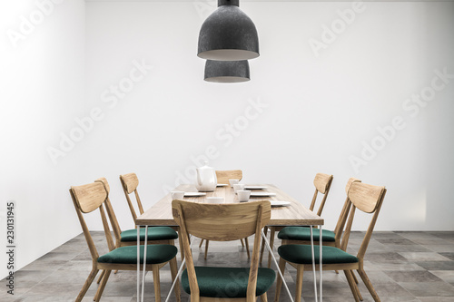 Fotomural  White dining room table front view