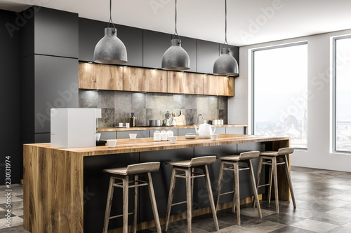 Fotografia, Obraz  Loft kitchen corner with bar