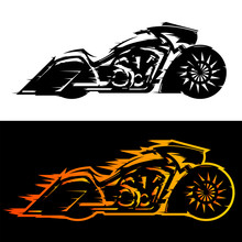 Motorcycle Vector Illustration Bagger Style,  Baggers Custom Motorbike Covered In Flames