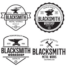 Blacksmith Labels Set. Design Elements For Metalworks Service Emblems, Badges, Logos. Monochrome Seal Collection.