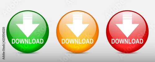 Fotografía  Three download button illustration with down arrow icon isolated