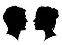 Man And Woman Silhouette. Face...