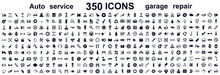 Auto Service, Car Garage 350 Isolated Icons Set – Stock Vector