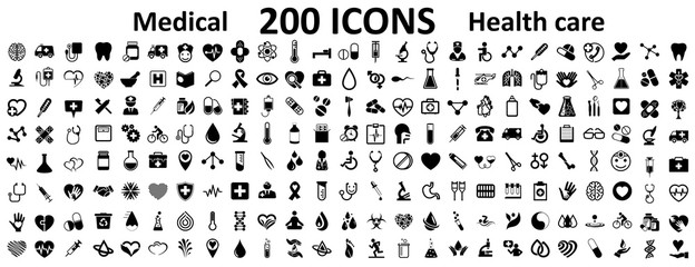 Set 200 Medecine and Health flat icons. Collection health care medical sign icons – for stock