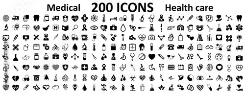 Set 200 Medecine and Health flat icons Fotobehang