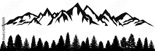 Foto Mountain ridge with many peaks and the forest at the foot - stock vector