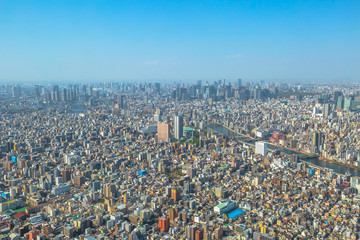 Fototapeta Aerial view of Tokyo city skyline with Asahi Beer Hall, Asahi Flame o Golden Turd, Sumida River Bridges and Asakusa area from Tokyo Skytree observatory. Daytime. Tokyo, Japan.