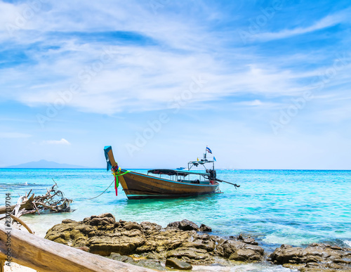 Poster Asia land Amazing view of beautiful beach with traditional thailand longtale boat. Location: Bamboo island, Krabi province, Thailand, Andaman Sea. Artistic picture. Beauty world.