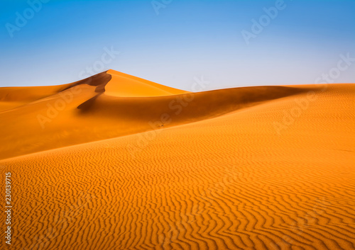 Foto op Canvas Zandwoestijn Amazing view of sand dunes in the Sahara Desert. Location: Sahara Desert, Merzouga, Morocco. Artistic picture. Beauty world.