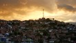 Dramatic yellow clouds over poor neighborhood in Comuna 13, Medellin Colombia