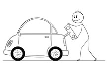 Cartoon Stick Drawing Conceptual Illustration Of Smiling Man Winding Up Or Charging Electric Car By Toy Key, Happy To Save The Nature And Environment.
