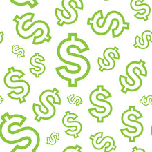 Light Green Dollar Seamless Pattern, Eps 9