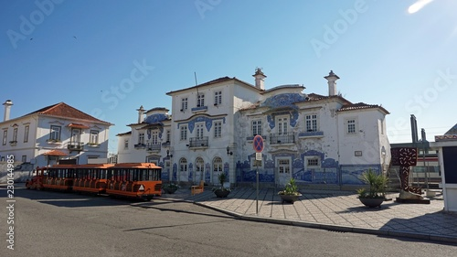 Vászonkép colorful old train station of aveiro in portugal
