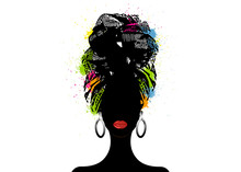 African Scarf, Portrait Afro Woman In A Striped Turban. Tribal Wrap Fashion, Ankara, Kente, Kitenge Dresses. Nigerian Style, Ghanaian Headwrap Colorful Splatter Vector For Print, Poster, T-shirt, Card