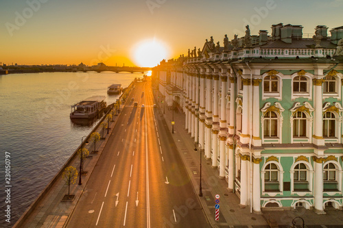 Poster Asia land Saint Petersburg. Hermitage. Sunrise over Petersburg. Palace Embankment. Russia. Streets of Petersburg. Neva River. Museums.