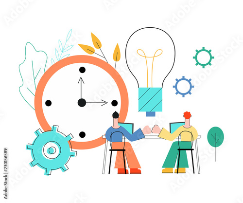 Fototapety, obrazy: Vector coworking, teambuilding and business communication concept with colleagues, male office workers, men sitting at table with laptop giving high five with gears, table clock, light bulb